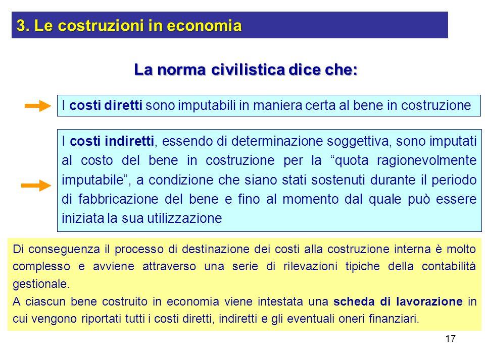 17 La norma civilistica dice che: I costi diretti sono imputabili in maniera certa al bene in costruzione I costi indiretti, essendo di determinazione