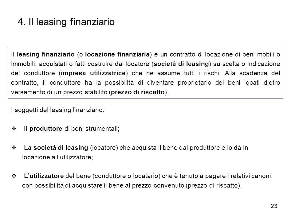 23 4. Il leasing finanziario Il leasing finanziario (o locazione finanziaria) è un contratto di locazione di beni mobili o immobili, acquistati o fatt