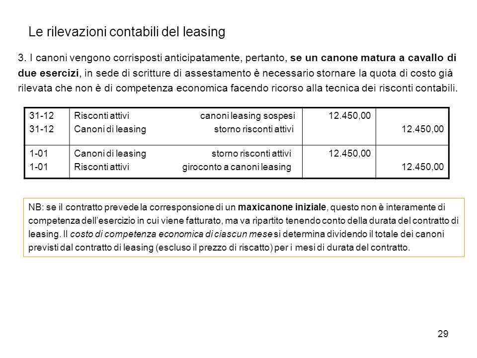 29 Le rilevazioni contabili del leasing 3. I canoni vengono corrisposti anticipatamente, pertanto, se un canone matura a cavallo di due esercizi, in s