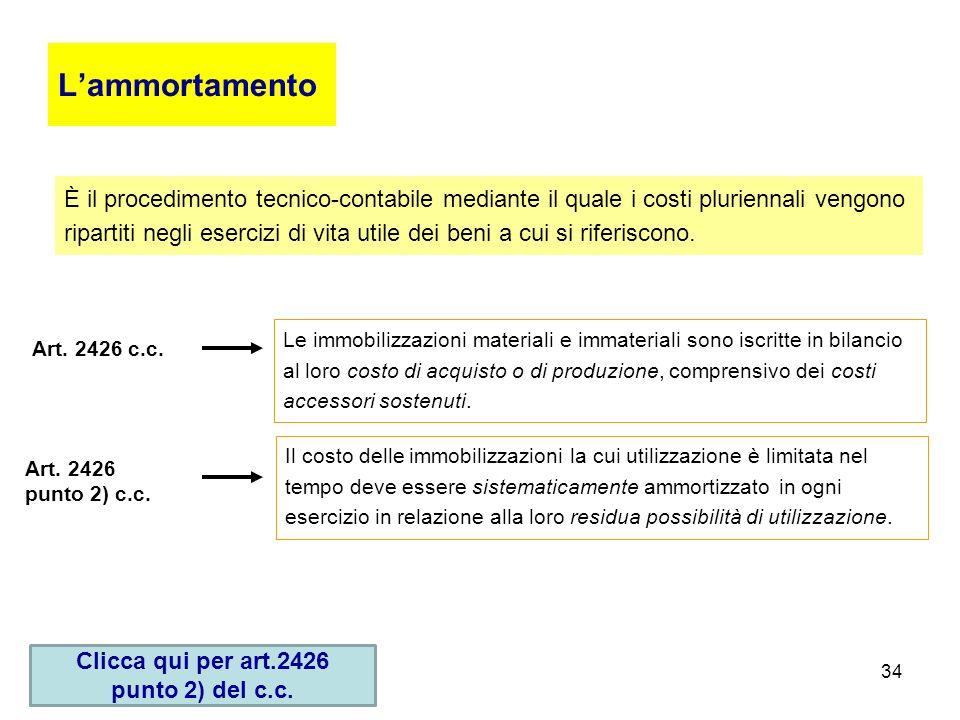 34 Lammortamento È il procedimento tecnico-contabile mediante il quale i costi pluriennali vengono ripartiti negli esercizi di vita utile dei beni a c