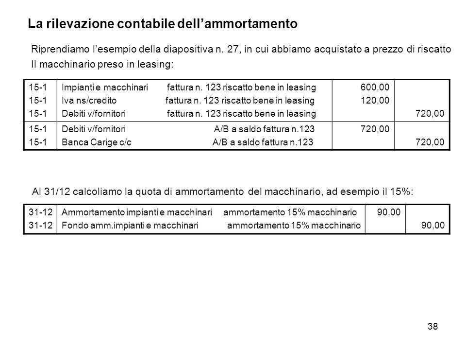 38 La rilevazione contabile dellammortamento Riprendiamo lesempio della diapositiva n. 27, in cui abbiamo acquistato a prezzo di riscatto Il macchinar