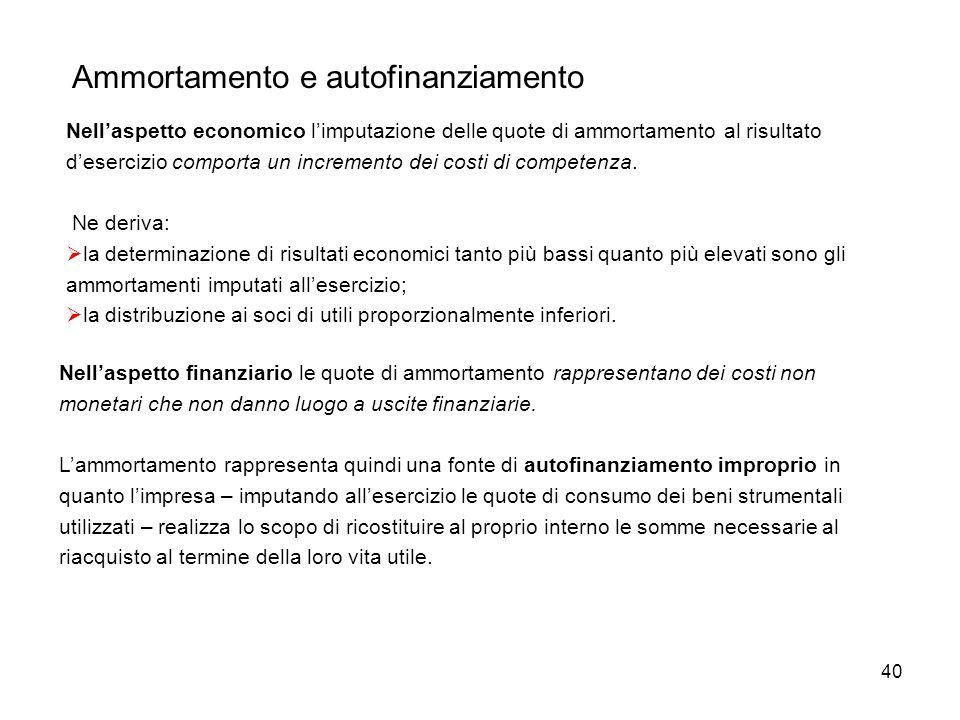 40 Ammortamento e autofinanziamento Nellaspetto economico limputazione delle quote di ammortamento al risultato desercizio comporta un incremento dei costi di competenza.