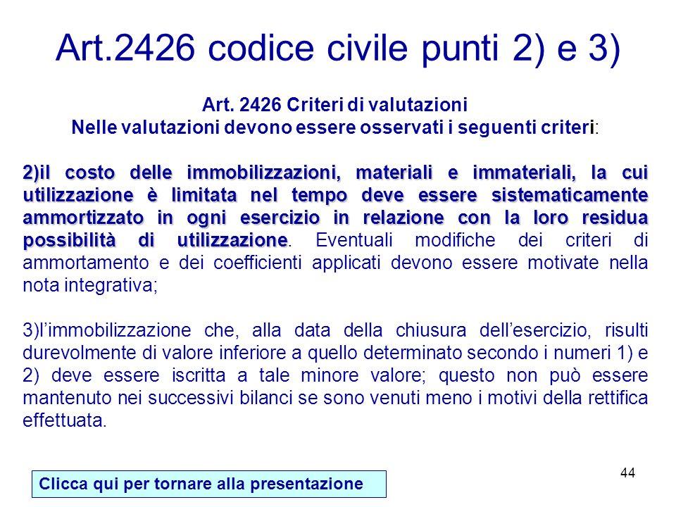 44 Art. 2426 Criteri di valutazioni Nelle valutazioni devono essere osservati i seguenti criteri: 2)il costo delle immobilizzazioni, materiali e immat