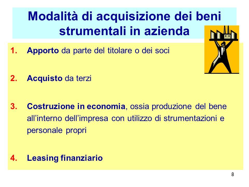 8 Modalità di acquisizione dei beni strumentali in azienda 1.Apporto da parte del titolare o dei soci 2.Acquisto da terzi 3.Costruzione in economia, o