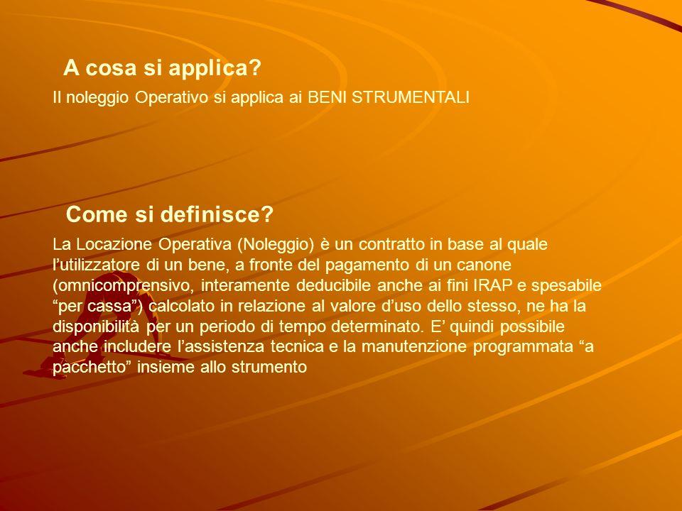 A cosa si applica. Il noleggio Operativo si applica ai BENI STRUMENTALI Come si definisce.