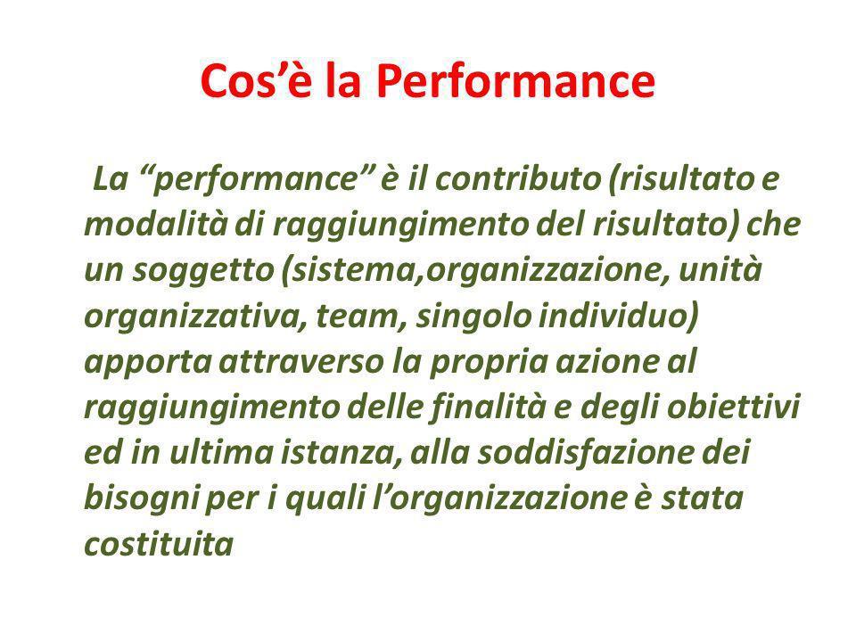 Cosè la Performance La performance è il contributo (risultato e modalità di raggiungimento del risultato) che un soggetto (sistema,organizzazione, uni