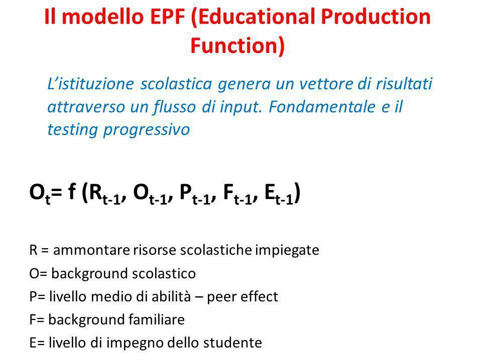 Il modello EPF (Educational Production Function) Listituzione scolastica genera un vettore di risultati attraverso un flusso di input. Fondamentale e