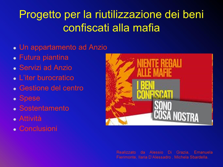 Progetto per la riutilizzazione dei beni confiscati alla mafia Un appartamento ad Anzio Futura piantina Servizi ad Anzio Liter burocratico Gestione de