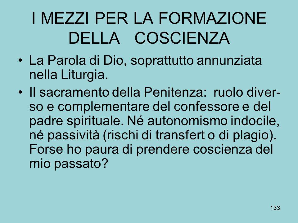 I MEZZI PER LA FORMAZIONE DELLA COSCIENZA La Parola di Dio, soprattutto annunziata nella Liturgia.