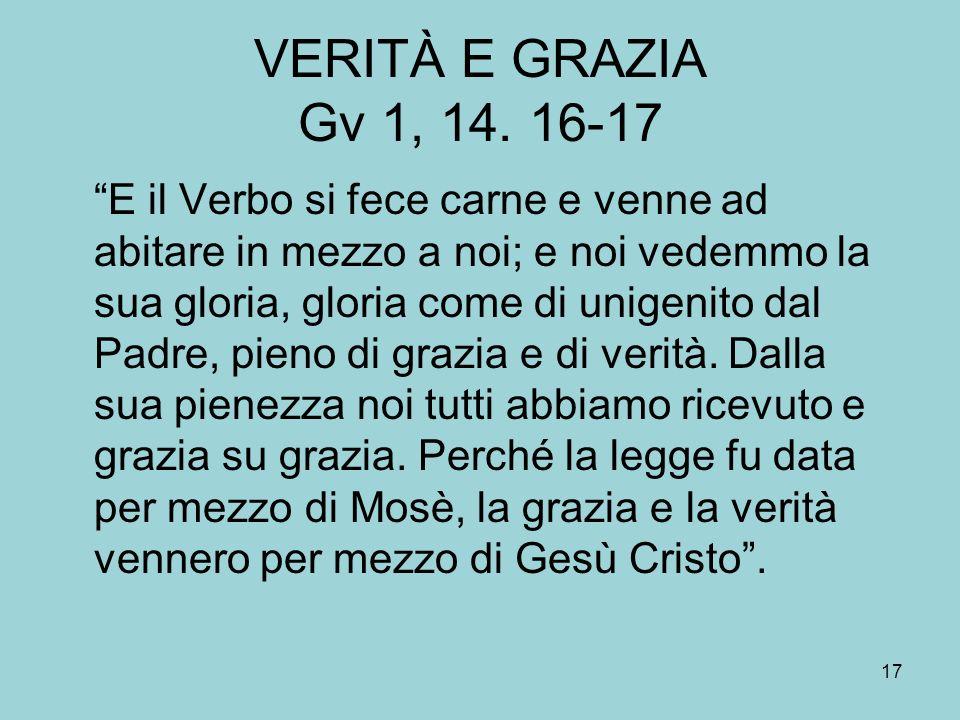 VERITÀ E GRAZIA Gv 1, 14.
