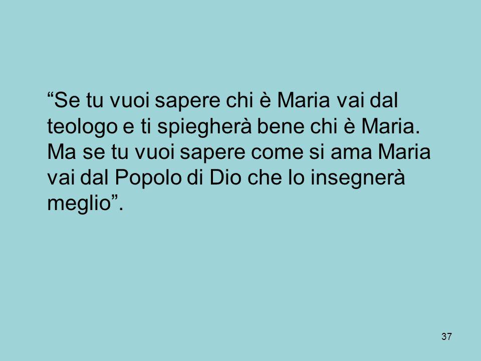 Se tu vuoi sapere chi è Maria vai dal teologo e ti spiegherà bene chi è Maria.
