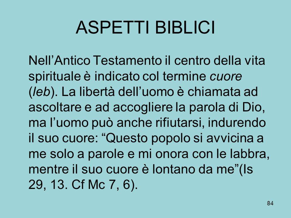 ASPETTI BIBLICI NellAntico Testamento il centro della vita spirituale è indicato col termine cuore (leb).