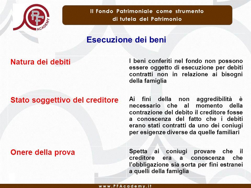 Esecuzione dei beni Natura dei debiti I beni conferiti nel fondo non possono essere oggetto di esecuzione per debiti contratti non in relazione ai bis