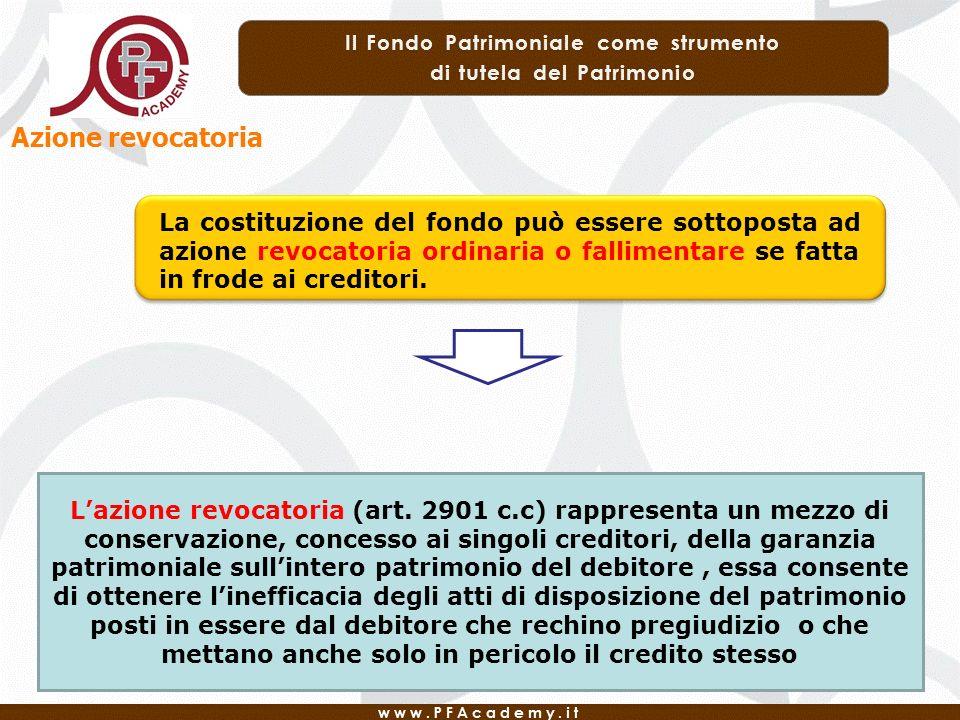 Azione revocatoria La costituzione del fondo può essere sottoposta ad azione revocatoria ordinaria o fallimentare se fatta in frode ai creditori. Lazi
