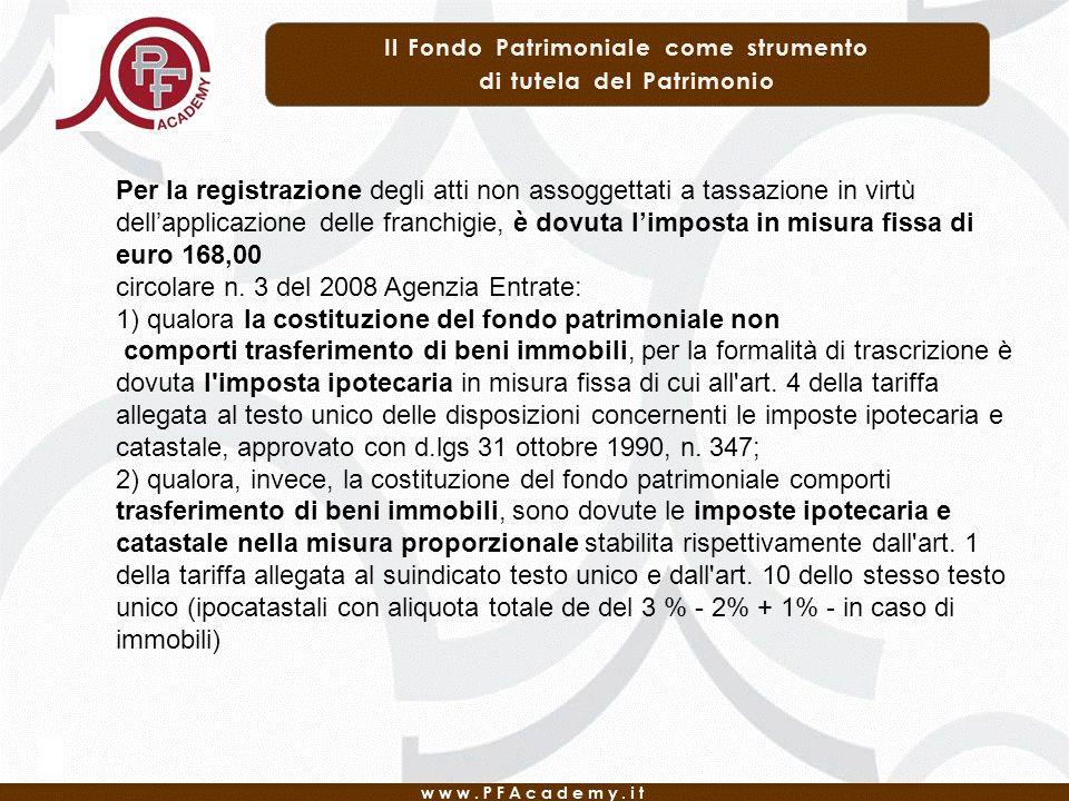 Per la registrazione degli atti non assoggettati a tassazione in virtù dellapplicazione delle franchigie, è dovuta limposta in misura fissa di euro 168,00 circolare n.