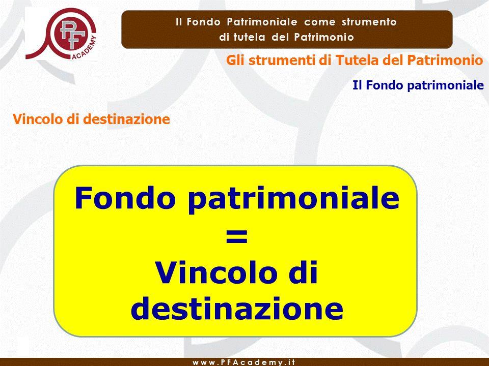 Gli strumenti di Tutela del Patrimonio Il Fondo patrimoniale Vincolo di destinazione Fondo patrimoniale = Vincolo di destinazione