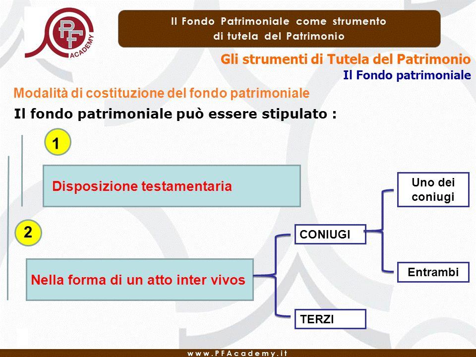 Gli strumenti di Tutela del Patrimonio Il Fondo patrimoniale Modalità di costituzione del fondo patrimoniale Il fondo patrimoniale può essere stipulat