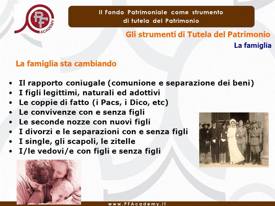 Gli strumenti di Tutela del Patrimonio La famiglia Il rapporto coniugale (comunione e separazione dei beni) I figli legittimi, naturali ed adottivi Le