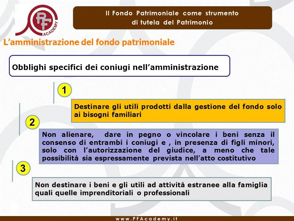 Lamministrazione del fondo patrimoniale Obblighi specifici dei coniugi nellamministrazione Destinare gli utili prodotti dalla gestione del fondo solo