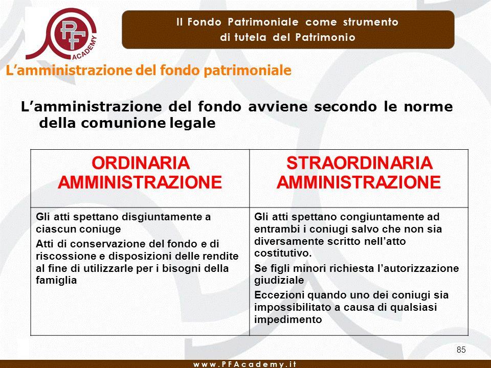 85 Lamministrazione del fondo avviene secondo le norme della comunione legale ORDINARIA AMMINISTRAZIONE STRAORDINARIA AMMINISTRAZIONE Gli atti spettan
