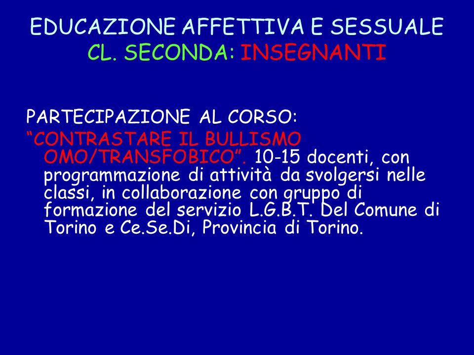 EDUCAZIONE AFFETTIVA E SESSUALE CL. SECONDA: INSEGNANTI PARTECIPAZIONE AL CORSO: CONTRASTARE IL BULLISMO OMO/TRANSFOBICO. 10-15 docenti, con programma