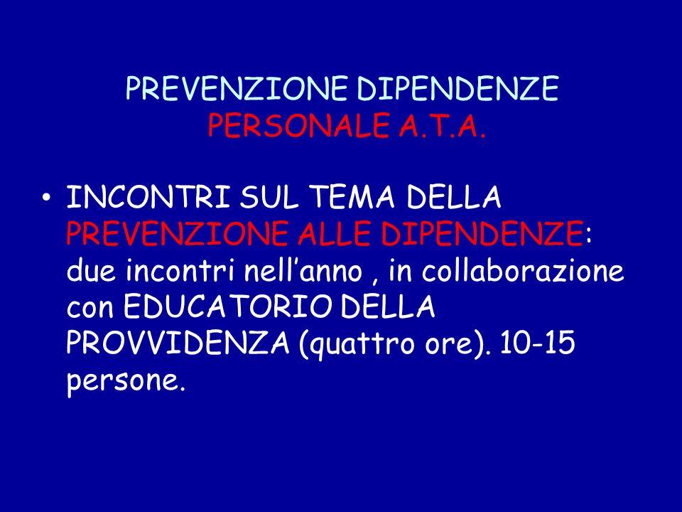 PREVENZIONE DIPENDENZE PERSONALE A.T.A. INCONTRI SUL TEMA DELLA PREVENZIONE ALLE DIPENDENZE: due incontri nellanno, in collaborazione con EDUCATORIO D