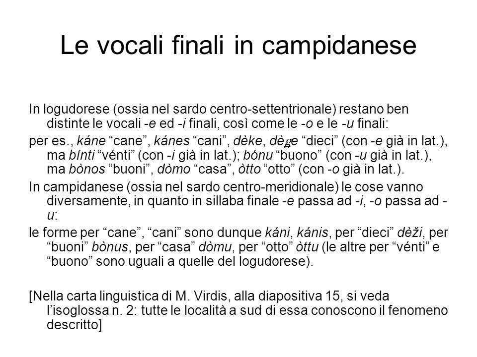 Le vocali finali in campidanese In logudorese (ossia nel sardo centro-settentrionale) restano ben distinte le vocali -e ed -i finali, così come le -o