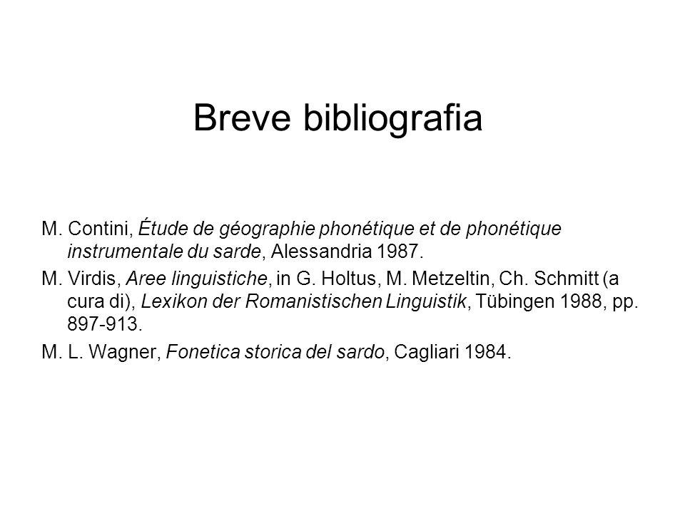 Breve bibliografia M. Contini, Étude de géographie phonétique et de phonétique instrumentale du sarde, Alessandria 1987. M. Virdis, Aree linguistiche,