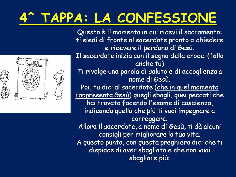 4^ TAPPA: LA CONFESSIONE Questo è il momento in cui ricevi il sacramento: ti siedi di fronte al sacerdote pronto a chiedere e ricevere il perdono di G
