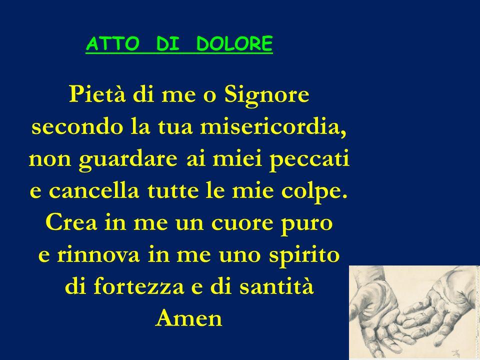 ATTO DI DOLORE Pietà di me o Signore secondo la tua misericordia, non guardare ai miei peccati e cancella tutte le mie colpe. Crea in me un cuore puro
