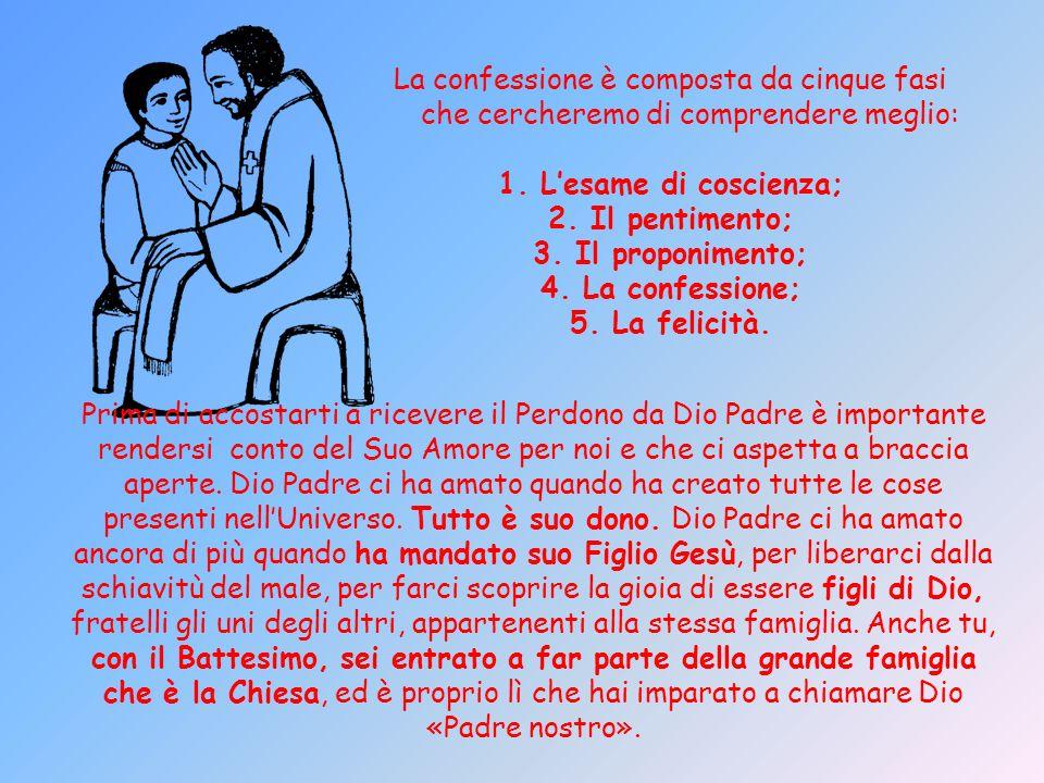 La confessione è composta da cinque fasi che cercheremo di comprendere meglio: 1. Lesame di coscienza; 2. Il pentimento; 3. Il proponimento; 4. La con