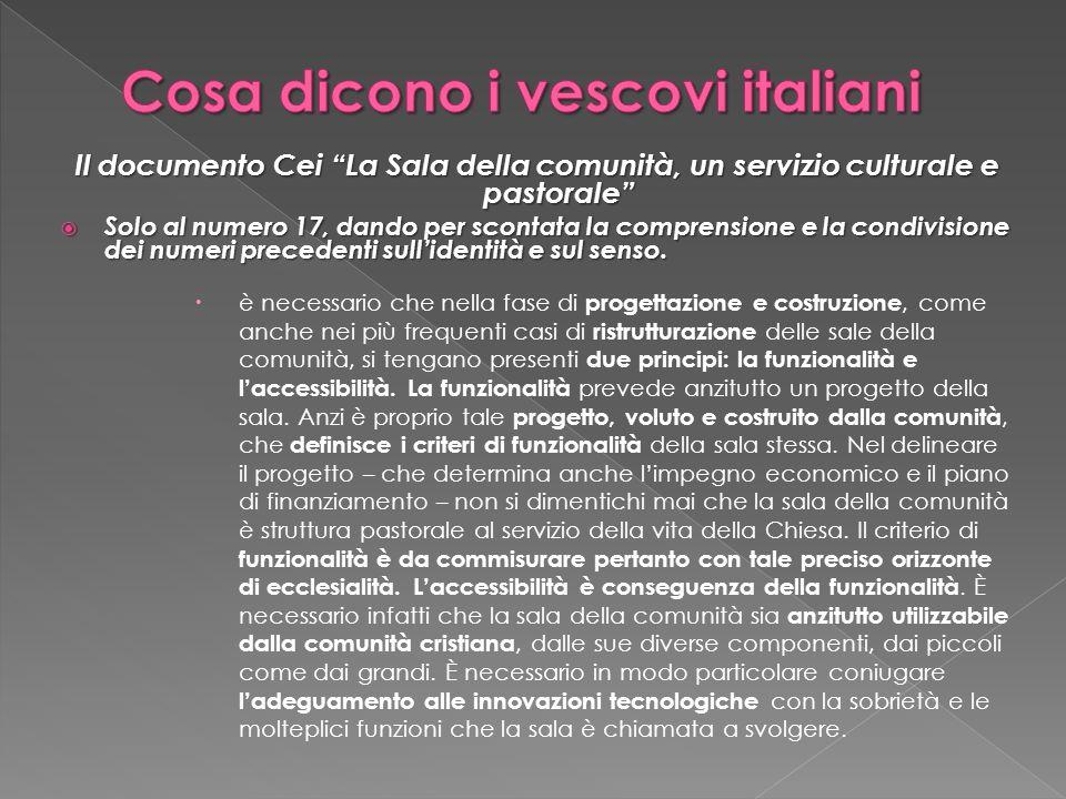 Il documento Cei La Sala della comunità, un servizio culturale e pastorale Solo al numero 17, dando per scontata la comprensione e la condivisione dei