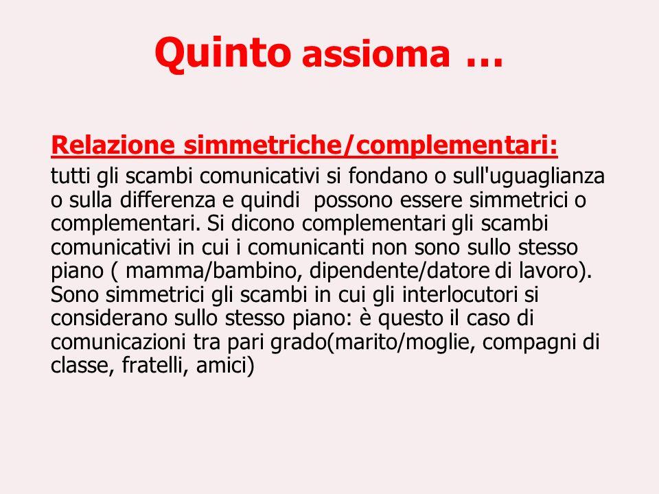 Quinto assioma … Relazione simmetriche/complementari: tutti gli scambi comunicativi si fondano o sull'uguaglianza o sulla differenza e quindi possono