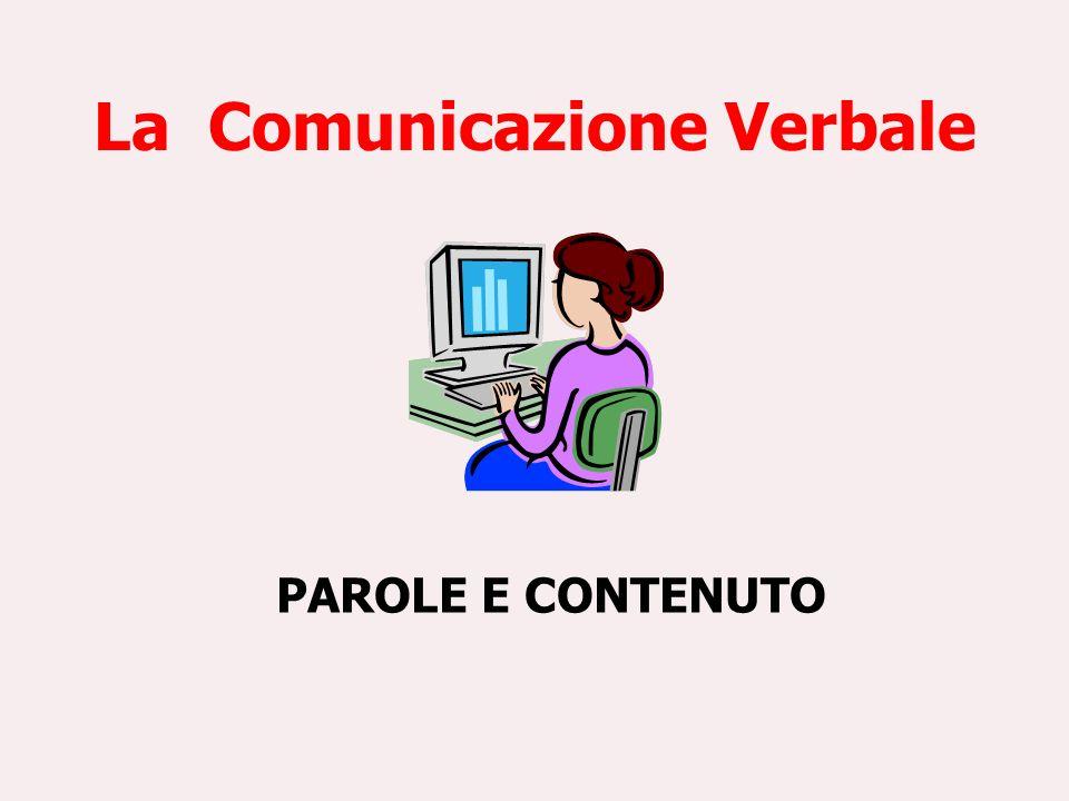 La Comunicazione Verbale PAROLE E CONTENUTO