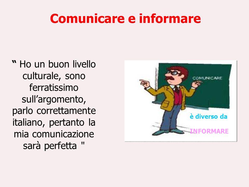 Comunicare e Informare È la trasmissione pura e semplice di notizie e dati da un soggetto a un altro COMUNICARE Mettere in comune, realizzare uno scambio tra due o più parti INFORMARE
