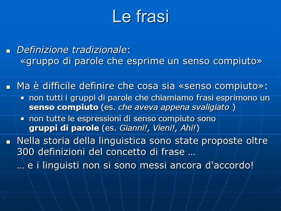 Le frasi Definizione tradizionale: «gruppo di parole che esprime un senso compiuto» Definizione tradizionale: «gruppo di parole che esprime un senso c