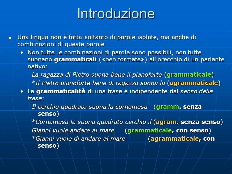 Introduzione Una lingua non è fatta soltanto di parole isolate, ma anche di combinazioni di queste parole Una lingua non è fatta soltanto di parole is