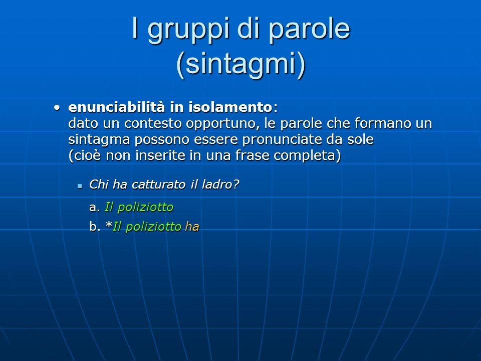 I gruppi di parole (sintagmi) enunciabilità in isolamento: dato un contesto opportuno, le parole che formano un sintagma possono essere pronunciate da
