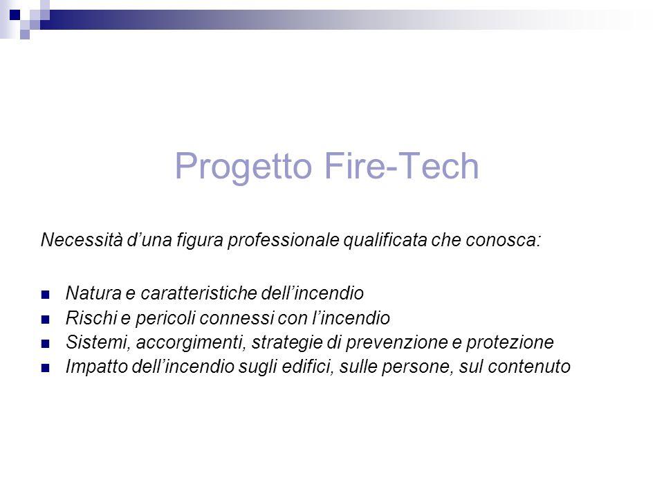 Progetto Fire-Tech Necessità duna figura professionale qualificata che conosca: Natura e caratteristiche dellincendio Rischi e pericoli connessi con l