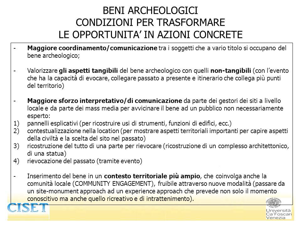 BENI ARCHEOLOGICI CONDIZIONI PER TRASFORMARE LE OPPORTUNITA IN AZIONI CONCRETE -Maggiore coordinamento/comunicazione tra i soggetti che a vario titolo