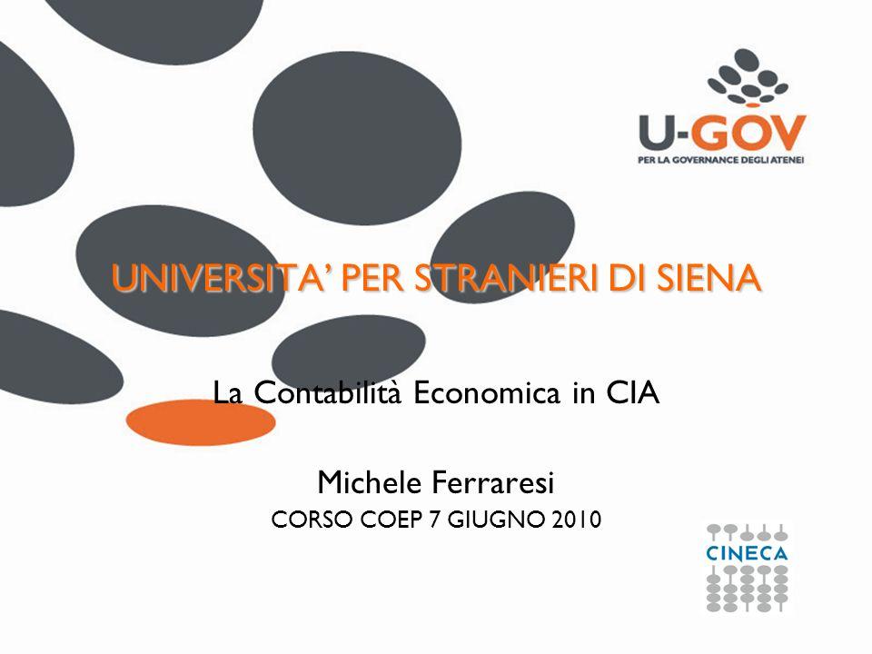 UNIVERSITA PER STRANIERI DI SIENA La Contabilità Economica in CIA Michele Ferraresi CORSO COEP 7 GIUGNO 2010
