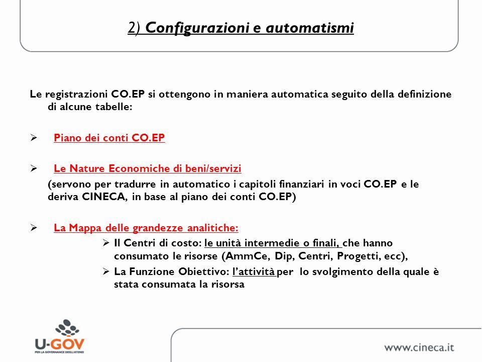 2) Configurazioni e automatismi Le registrazioni CO.EP si ottengono in maniera automatica seguito della definizione di alcune tabelle: Piano dei conti