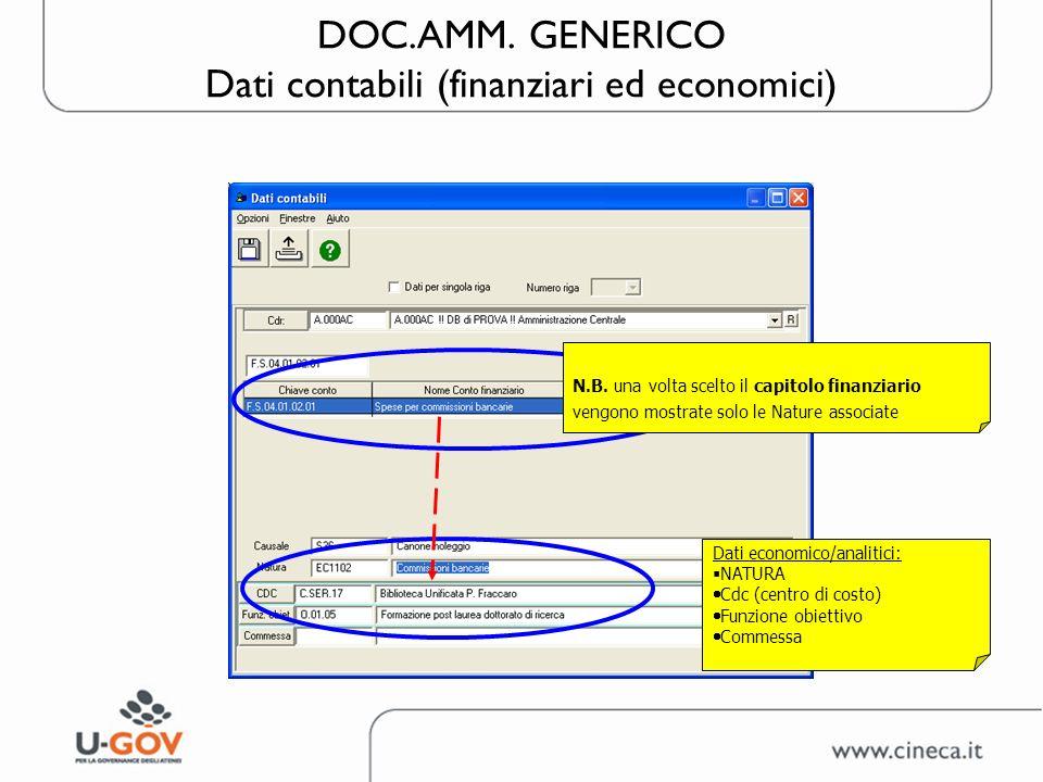 DOC.AMM. GENERICO Dati contabili (finanziari ed economici) N.B. una volta scelto il capitolo finanziario vengono mostrate solo le Nature associate Dat