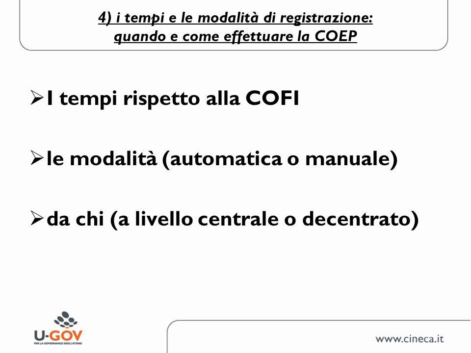 4) i tempi e le modalità di registrazione: quando e come effettuare la COEP I tempi rispetto alla COFI le modalità (automatica o manuale) da chi (a li