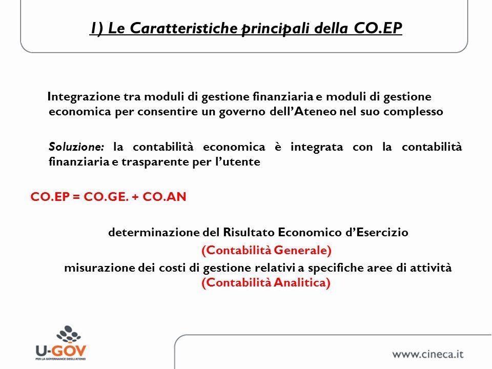 1) Le Caratteristiche principali della CO.EP CO.EP CO.GE: svolge una funzione di analisi dei fatti di gestione esterna sotto il profilo economico CO.AN: Svolge una funzione di consuntivazione con valenza informativa interna.