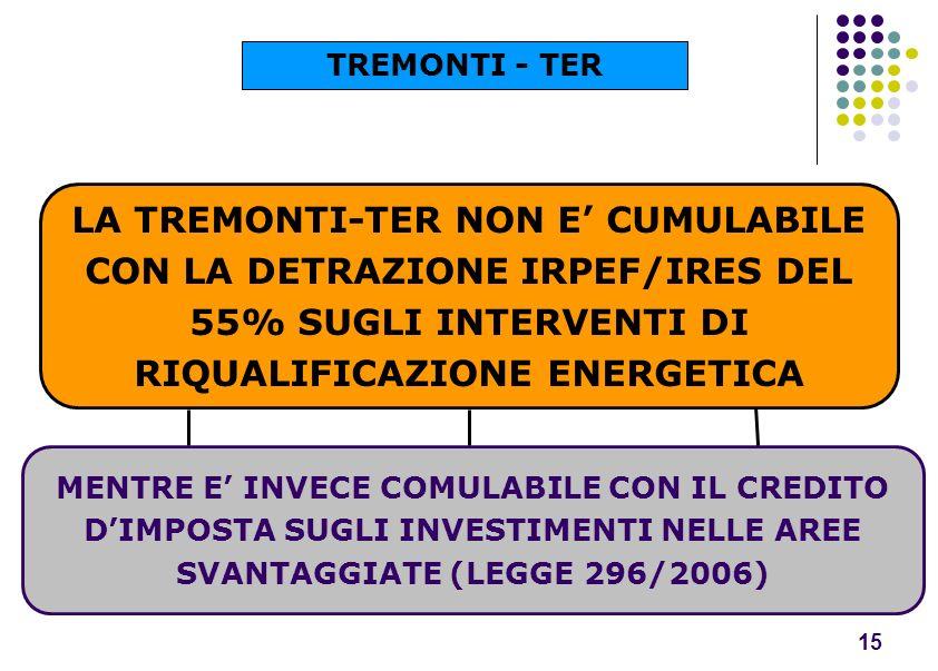LA TREMONTI-TER NON E CUMULABILE CON LA DETRAZIONE IRPEF/IRES DEL 55% SUGLI INTERVENTI DI RIQUALIFICAZIONE ENERGETICA MENTRE E INVECE COMULABILE CON I