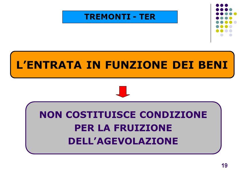 LENTRATA IN FUNZIONE DEI BENI 19 NON COSTITUISCE CONDIZIONE PER LA FRUIZIONE DELLAGEVOLAZIONE TREMONTI - TER