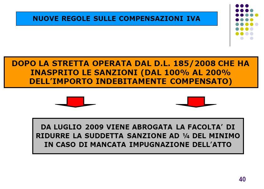 DOPO LA STRETTA OPERATA DAL D.L. 185/2008 CHE HA INASPRITO LE SANZIONI (DAL 100% AL 200% DELLIMPORTO INDEBITAMENTE COMPENSATO) 40 DA LUGLIO 2009 VIENE