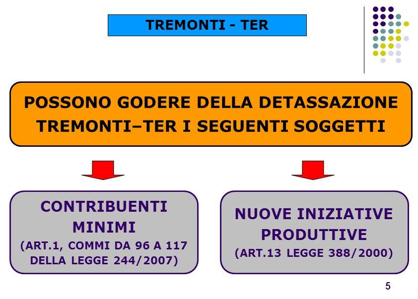 POSSONO GODERE DELLA DETASSAZIONE TREMONTI–TER I SEGUENTI SOGGETTI 5 CONTRIBUENTI MINIMI (ART.1, COMMI DA 96 A 117 DELLA LEGGE 244/2007) NUOVE INIZIAT