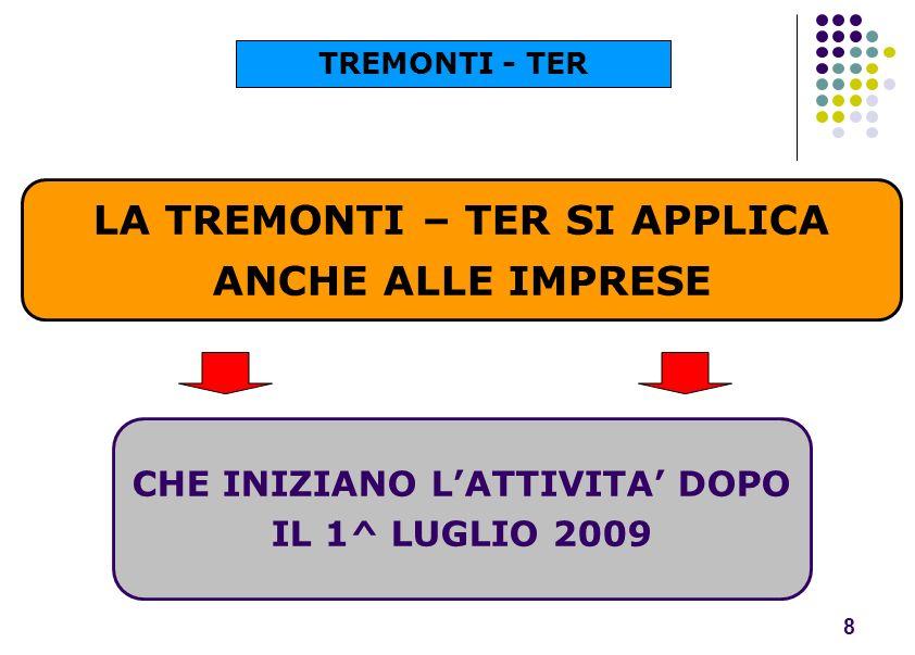 LA TREMONTI – TER SI APPLICA ANCHE ALLE IMPRESE 8 CHE INIZIANO LATTIVITA DOPO IL 1^ LUGLIO 2009 TREMONTI - TER